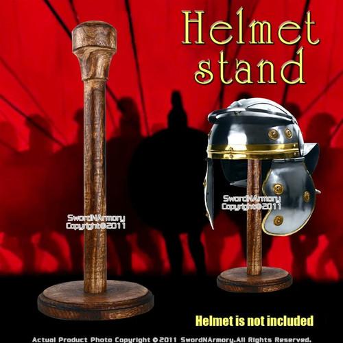 Wooden Roman Helmet Stand Medieval Helm Samurai Kabuto