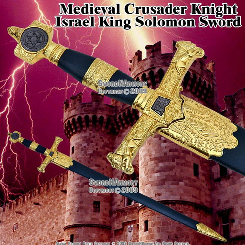 Short King Solomon Sword Fantasy Medieval Dagger with Scab