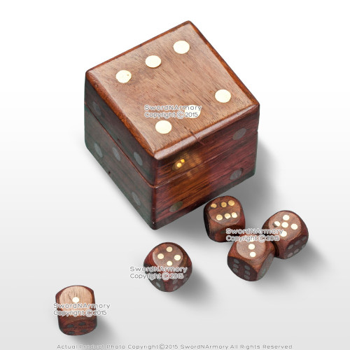 5 Hand Craved Wood Dices Gaming Set Casino Game Gambling w/ Dice Cube Wooden Box