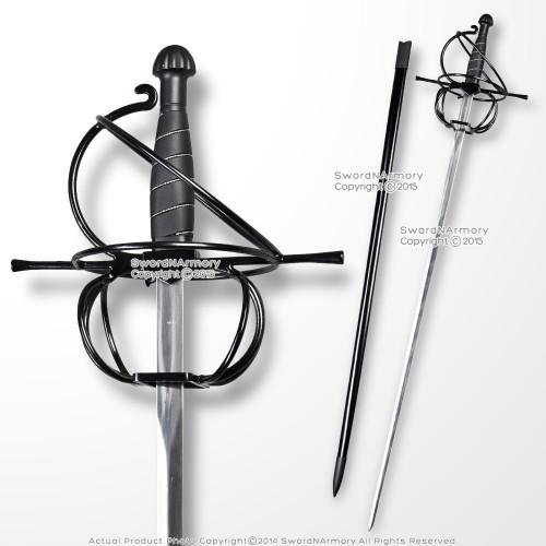 "43"" Black Stainless Steel Swept Hilt Guard Rapier Medieval Renaissance Sword"