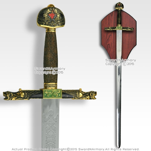 "40"" Knight Medieval Arming Sword Stainless Steel Blade with Display Plaque"