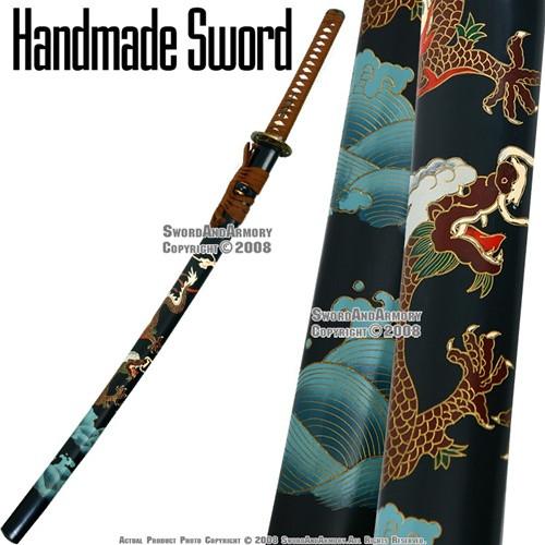 Handmade Dragon Samurai Katana Sword With Handcrafted Saya