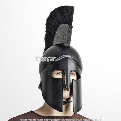Black Wearable Greek Corinthian Spartan Battle Helmet w/ Plume Linear 20G Steel