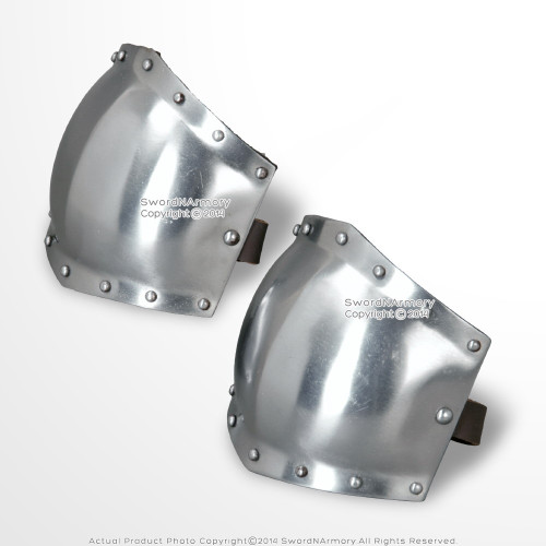 Medieval 18G Steel Body Armor Type B Elbow Protector with Leather Lining LARP