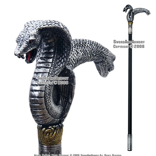 "35 "" Poly Resin Serpent Steel Walking Stick Gentleman's Cane"
