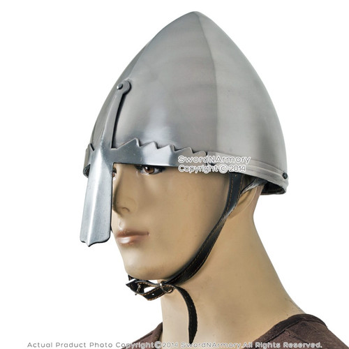 Norman Nasal Helmet with Liner and Chin Strap Wearablle LARP Costume Armour