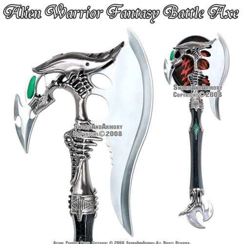Alien Warrior Fantasy Battle Axe With Dagger & Plaque