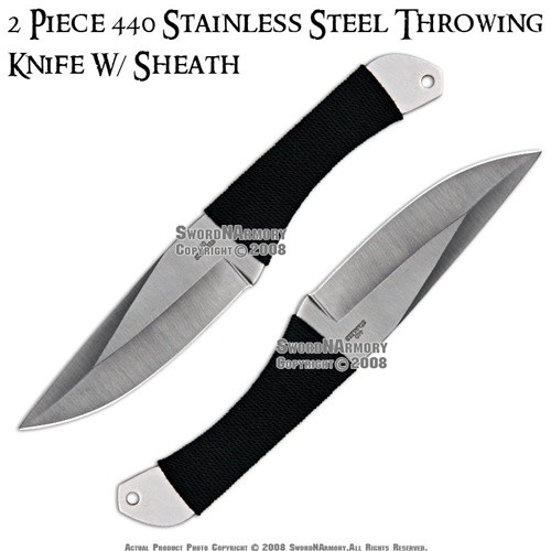 "2 Pcs 8.75"" Steel Throwing Knives With Sheath"