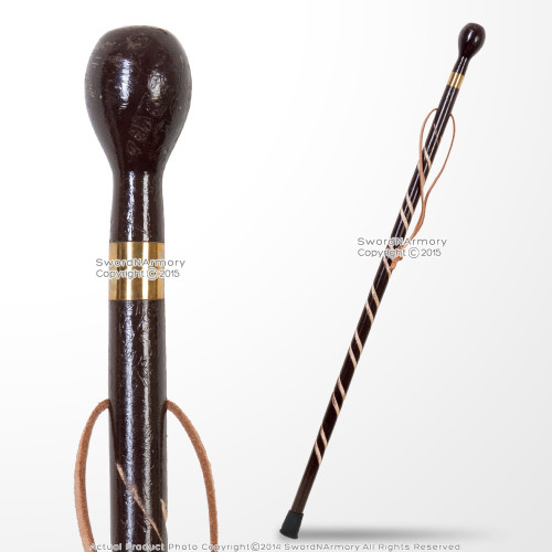 36' Solid Wooden Walking Cane Round Top Gentlemen's Spiral Fluted Walking Stick Decorative Cane