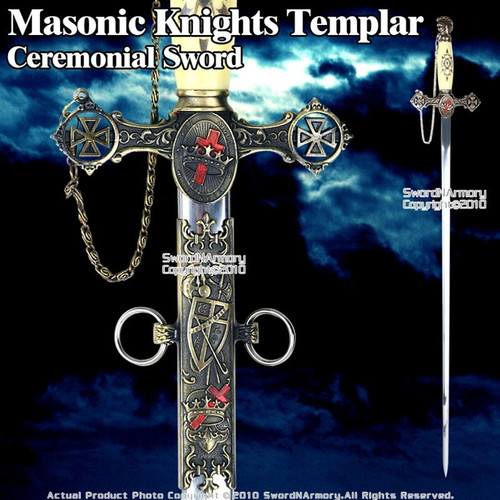 Masonic Knights Templar Ceremonial Sword w/ Antiqued Bronze