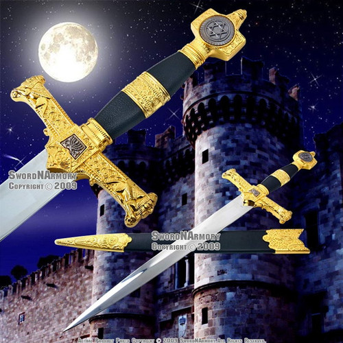 King Solomon Sword Medieval Crusader Dagger w/ Scabbard
