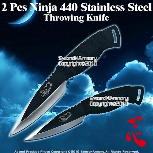 "10"" & 8"" 2 Pcs Ninja Throwing Knife Scorpion Thrower Fixed Blade with Sheath"