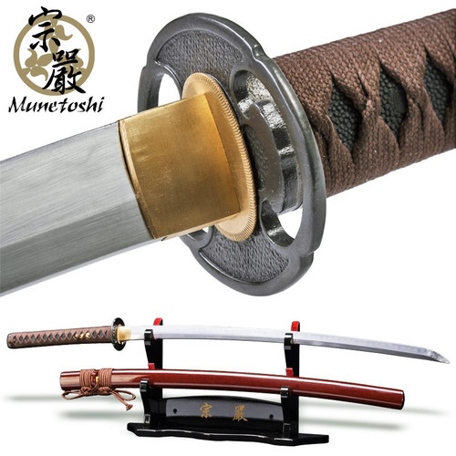 Munetoshi Light Cutter Handmade Samurai Katana Sword DH T10 Clay Tempered Blade