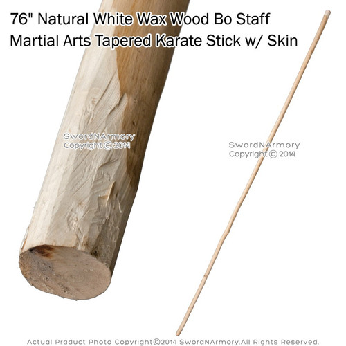 "76"" Natural White Wax Wood Bo Staff Martial Arts Tapered Karate Stick w/ Skin with bark"