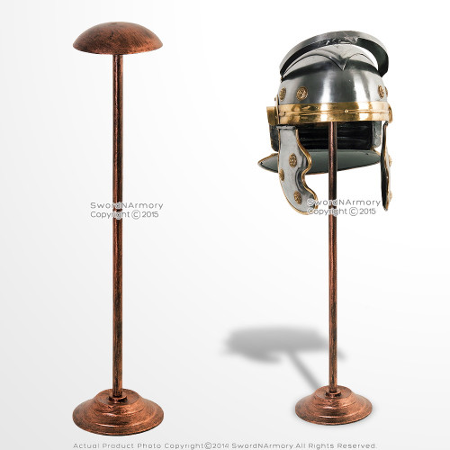 "26"" Tall Medieval Viking Roman Greek IronHelmet Display Stand Copper Color"