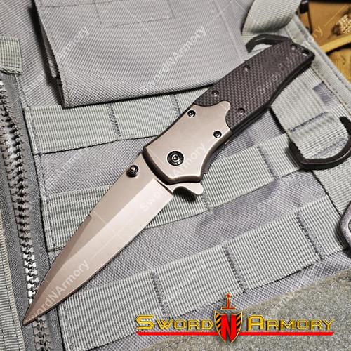 Spring Assisted Tactical Knife Pocket Folder G10 Handle