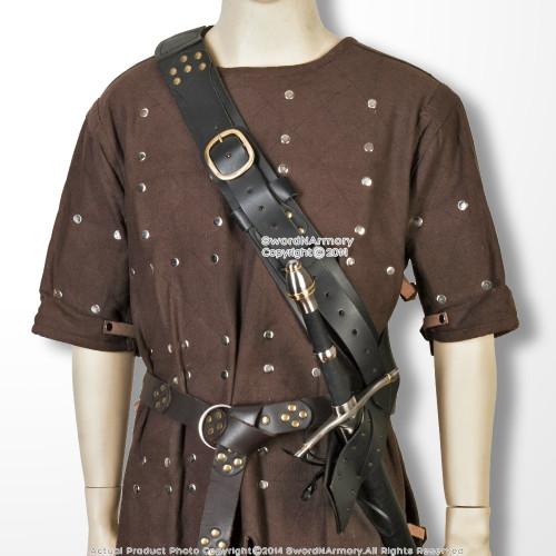 Medieval Sword Baldric Belt Leather Shoulder Mounted Adjustable Frog Holster