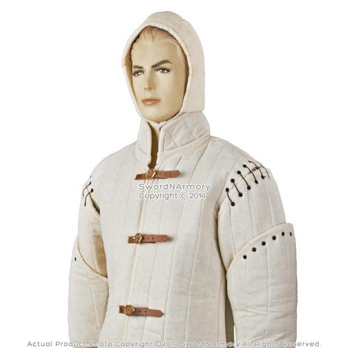 Ecru Large Size Gambeson Type I Medieval Padded Armour CoatSCA WMA Arming Jacket