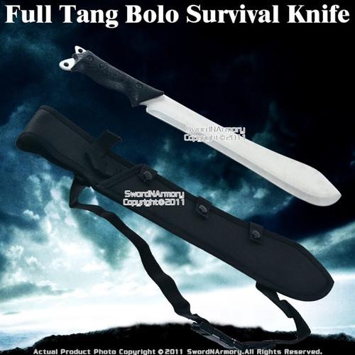 Full Tang Bolo Survival Machete Sword Knife w/ Sheath