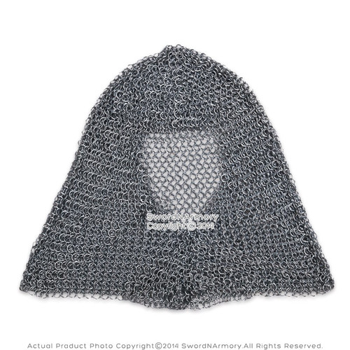 Medieval Chainmail Hood Coif Butted Mild Steel for LARP Renaissance Reenactment
