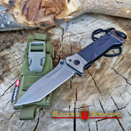 Assisted Opening Tactical Rescue Knife Black G10 Handle 8Cr14Mov Steel Blade