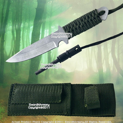 Fixed Blade Camping Survival Knife w/ Magnesium Fire Starter