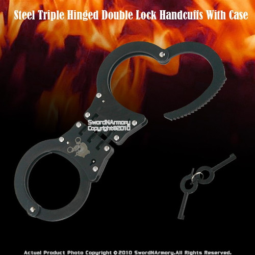 Steel Triple Hinged Double Lock Handcuffs With Case