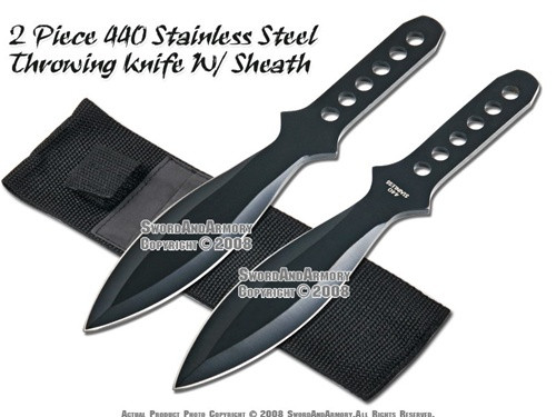 """2 Pcs 8.5"""" Black Stainless Steel Throwing Knife With Case"""