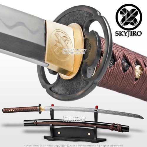 Skyjiro Ancient Iron Warrior 1070 Forged Folded Steel Samurai Katana Sword Sharp