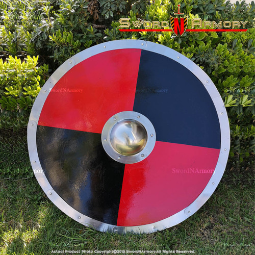 "30"" Functional Viking Norse Wooden Large Round Shield, Cosplay"