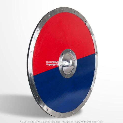 "30"" Functional Anglo Saxon Viking Norse Wooden Shield with Steel Boss LARP SCA"