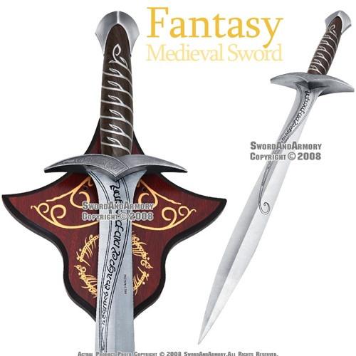 "29"" Polished Steel Sting Fantasy Dagger Medieval Short Sword with Display Plaque"