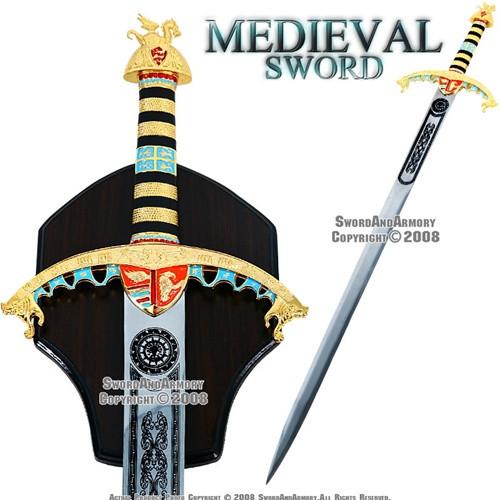 Ornate Richard Lionheart Arming Medieval Sword With Plaque