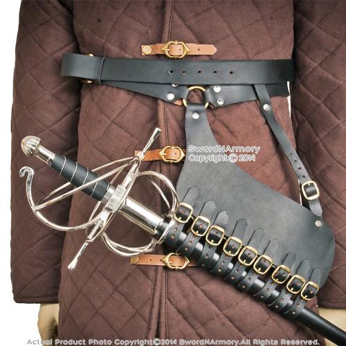 Genuine Leather Rapier Sword Belt Hanger Frog AllinOne Medieval Renaissance LARP