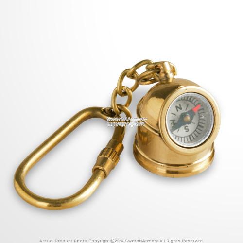 Handmade Brass Miniature Marine Helmet Compass Keychain Keychain Nautical Gift
