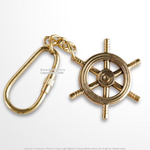 Handmade Brass Maritime Ship Navigation Wheel Keychain Keyring Nautical Gift