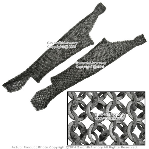 M/L Functional Medieval Chainmail Legging Pair Flat Ring Wedge Riveted Alt  SCA