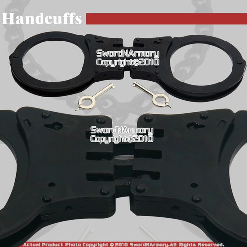 Steel Triple Hinged Double Lock Handcuffs W/ Spare Key