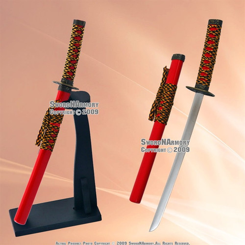 Red Ocean Samurai Katana Sword Letter Opener W/ Stand 1