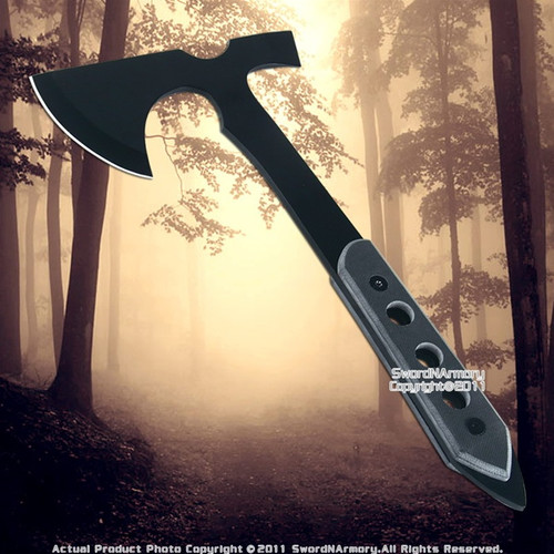 Functional Full Tang Black Hatchet Throwing Axe w/ Shealth
