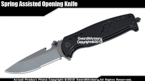 Assisted Opening Folding Knife Titanium Coated Blade Fast Pocket Release Hook BK