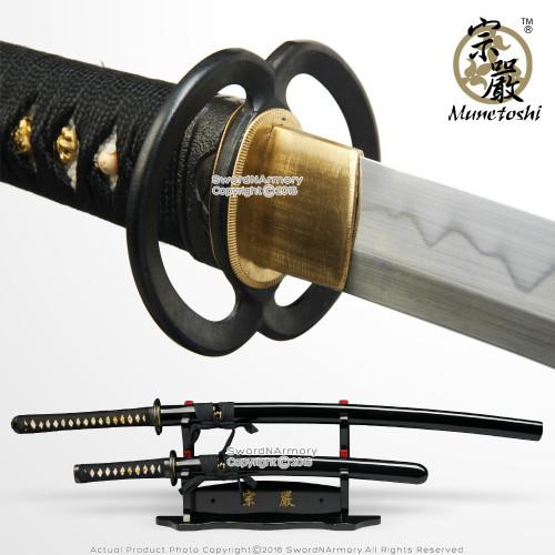 Munetoshi Daisho Sword Set T10 Clay Tempered Handmade Samurai Katana Wakizashi