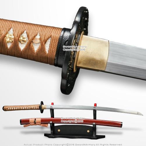 Musashi DH T10 Steel Choji Hamon Handmade Samurai Katana Sword Dragon Tsuba BRN