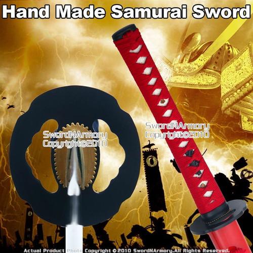Handmade Samurai Katana Sword W/ Red Scabbard And Cord