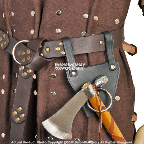 Genuine Leather Medieval Axe Hanger Viking Hatchet Tomahawk Holder Costume LARP