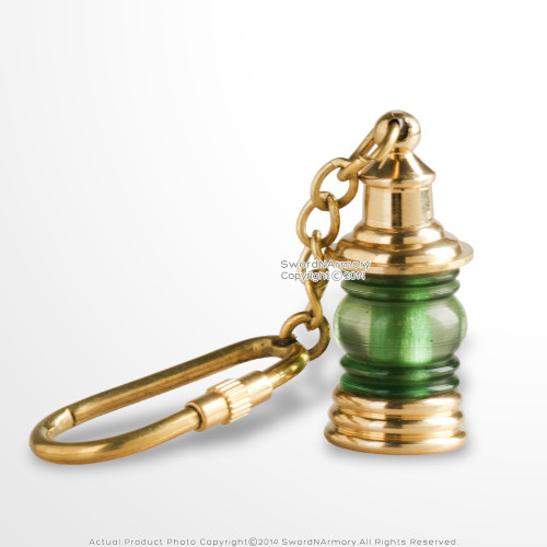 Vintage Style Handmade Brass Miniature Nautical Green Ship Lantern Keychain
