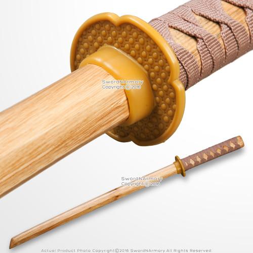 Natural Wooden Wakizashi Size Bokken Samurai Practice Short Sword Waster