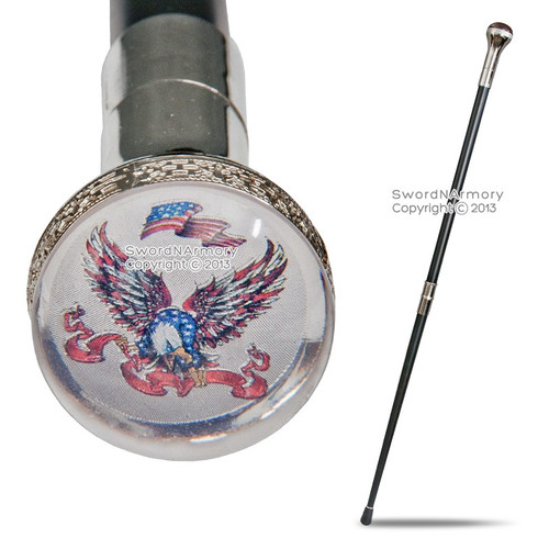 American Bold Eagle Emblem Two-Piece Walking Cane Gentleman Stick Steel Staff SL