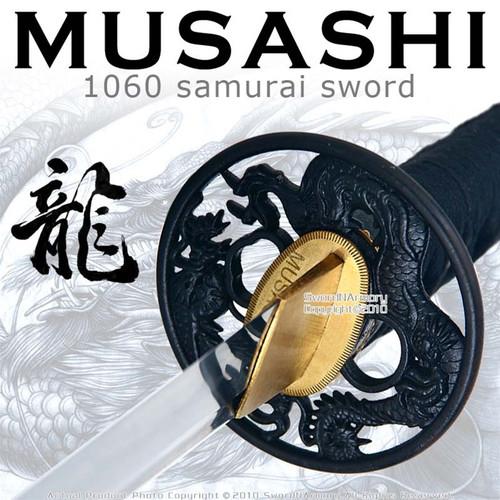 Handmade Musashi 1060 Katana Samurai Sword Black Dragon