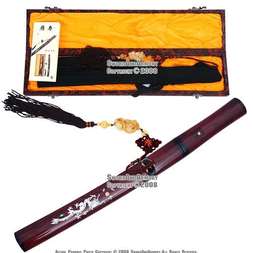 Musashi Handmade Shirasaya Tanto Samurai Short Sword Dragon Scab w/ Jade Tassel